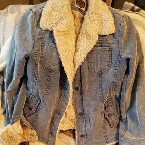 Light blue corduroy fur collar jacket size L